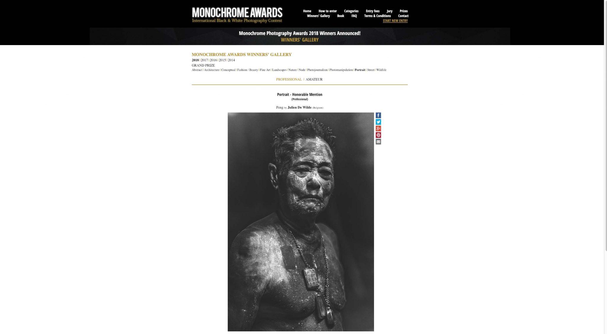 Julien De Wilde Photographer Winner Monochrome Awards