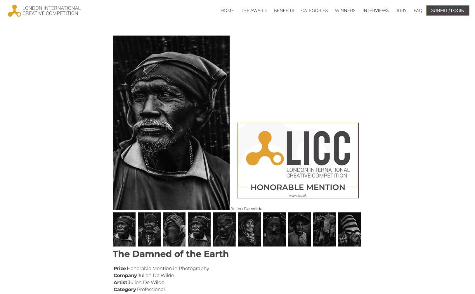 Julien De Wilde Photographer LICC London International Creative Competition